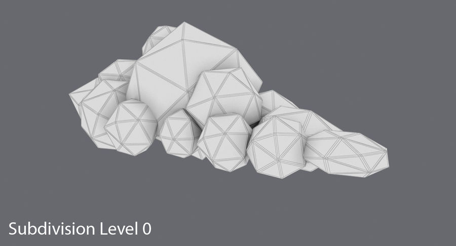 Nuage blanc bas poly 1 royalty-free 3d model - Preview no. 16