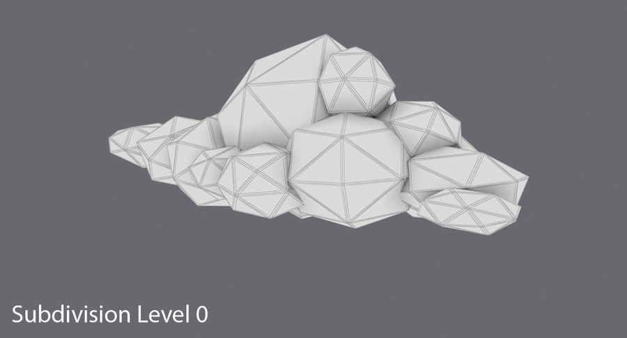 Nuage blanc bas poly 1 royalty-free 3d model - Preview no. 12