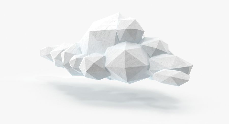 Nuage blanc bas poly 1 royalty-free 3d model - Preview no. 2