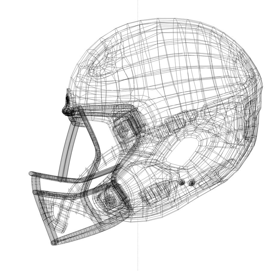 Casco da football royalty-free 3d model - Preview no. 10