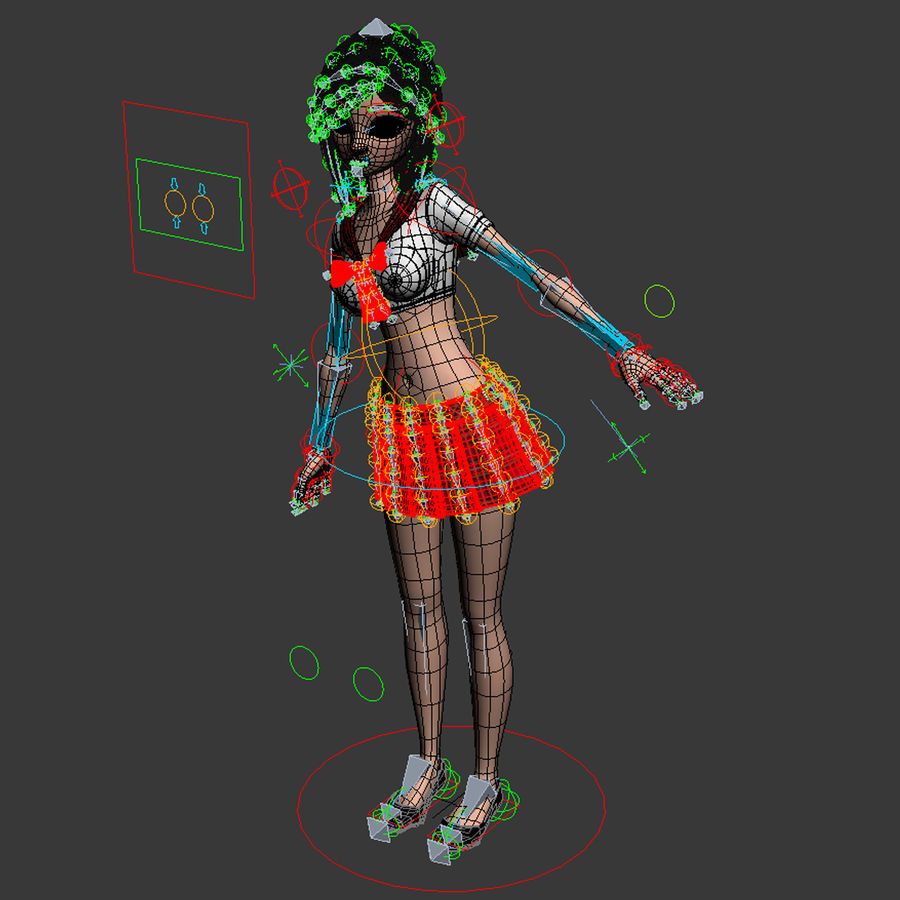 亚洲卡通女孩 royalty-free 3d model - Preview no. 7