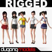 亚洲卡通女孩 3d model