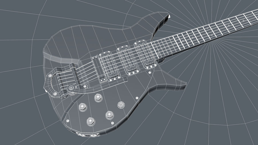 Vintage Electric Guitar royalty-free 3d model - Preview no. 5