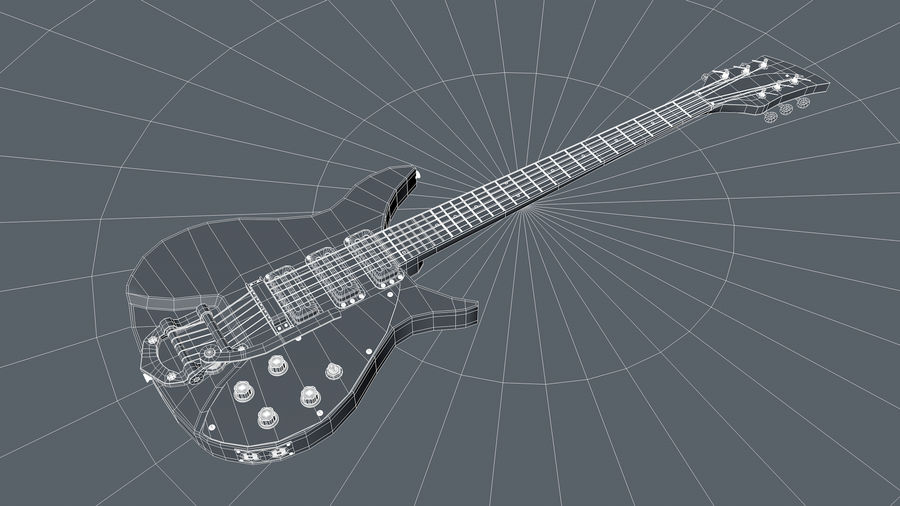 Vintage Electric Guitar royalty-free 3d model - Preview no. 18