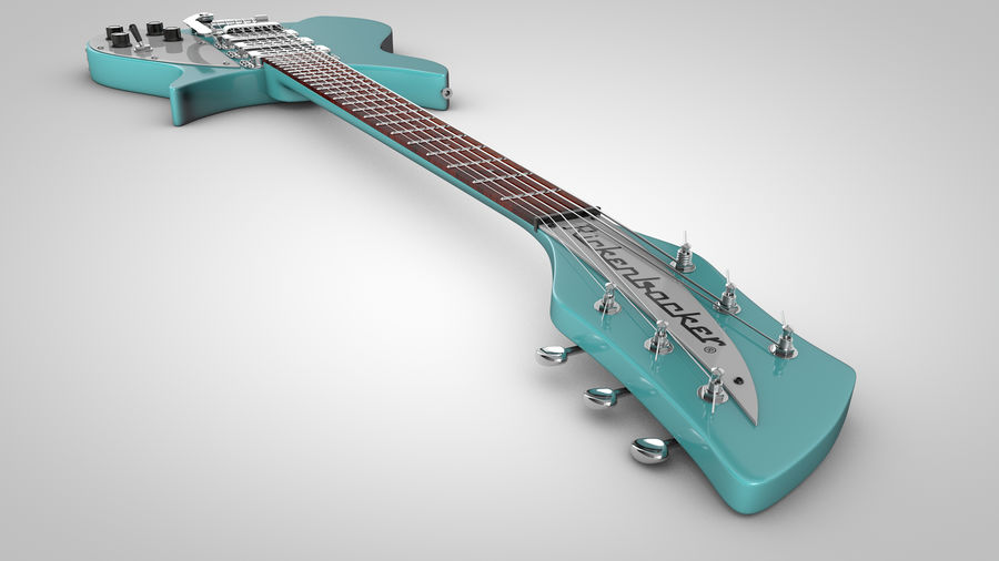 Vintage Electric Guitar royalty-free 3d model - Preview no. 8