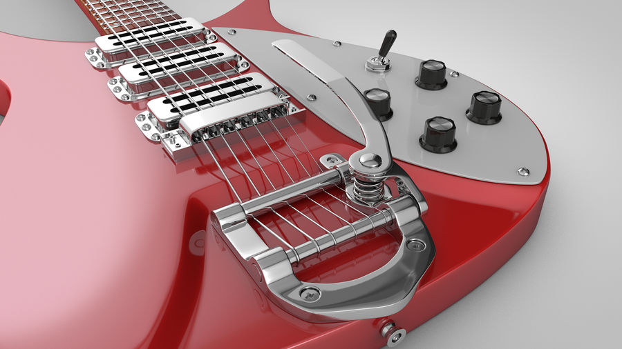 Vintage Electric Guitar royalty-free 3d model - Preview no. 6