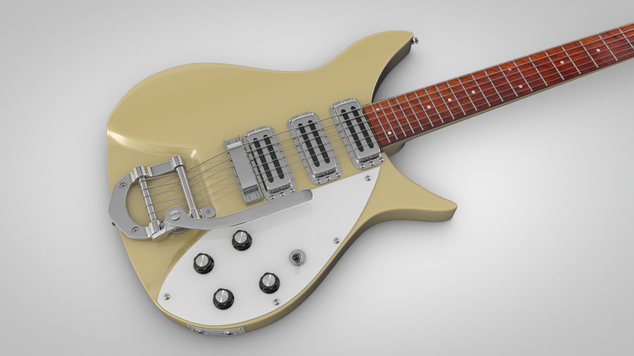 Vintage Electric Guitar royalty-free 3d model - Preview no. 3