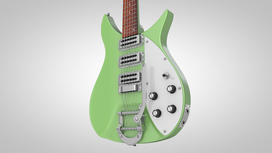 Vintage Electric Guitar royalty-free 3d model - Preview no. 2