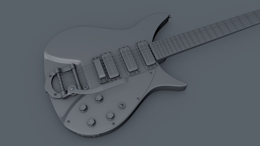 Vintage Electric Guitar royalty-free 3d model - Preview no. 4