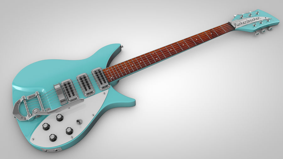 Vintage Electric Guitar royalty-free 3d model - Preview no. 1