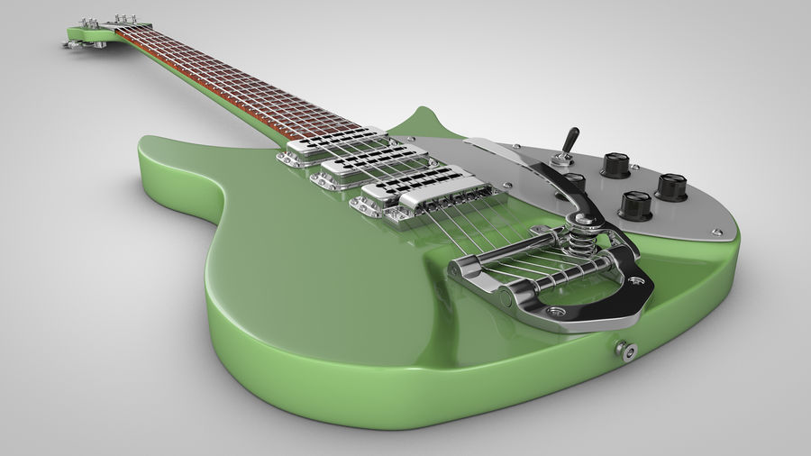 Vintage Electric Guitar royalty-free 3d model - Preview no. 12