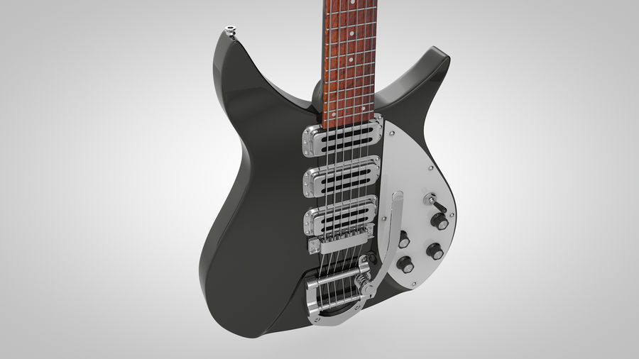 Vintage Electric Guitar royalty-free 3d model - Preview no. 7