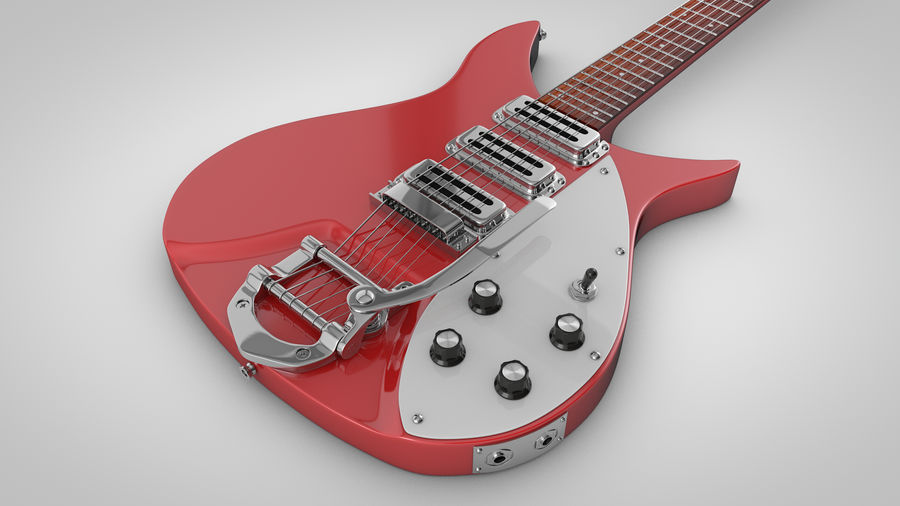 Vintage Electric Guitar royalty-free 3d model - Preview no. 11