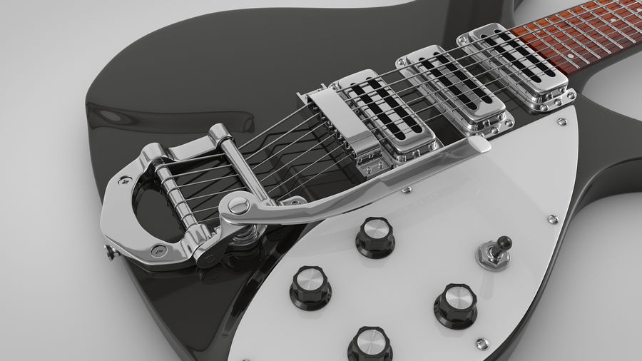 Vintage Electric Guitar royalty-free 3d model - Preview no. 13