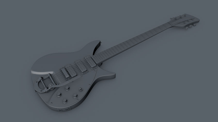 Vintage Electric Guitar royalty-free 3d model - Preview no. 17