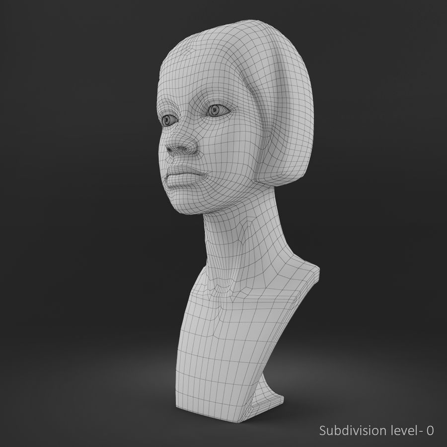 模特头女孩M001 royalty-free 3d model - Preview no. 12