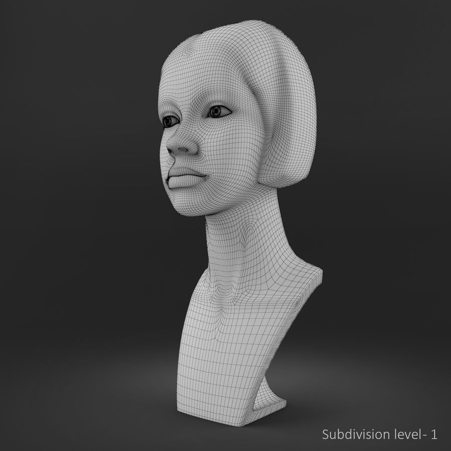 模特头女孩M001 royalty-free 3d model - Preview no. 13