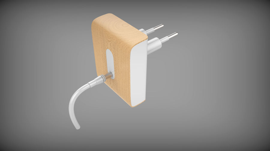 Wood Electronics Charger royalty-free 3d model - Preview no. 7