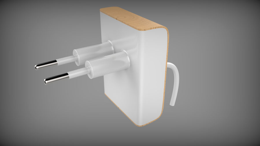 Wood Electronics Charger royalty-free 3d model - Preview no. 1