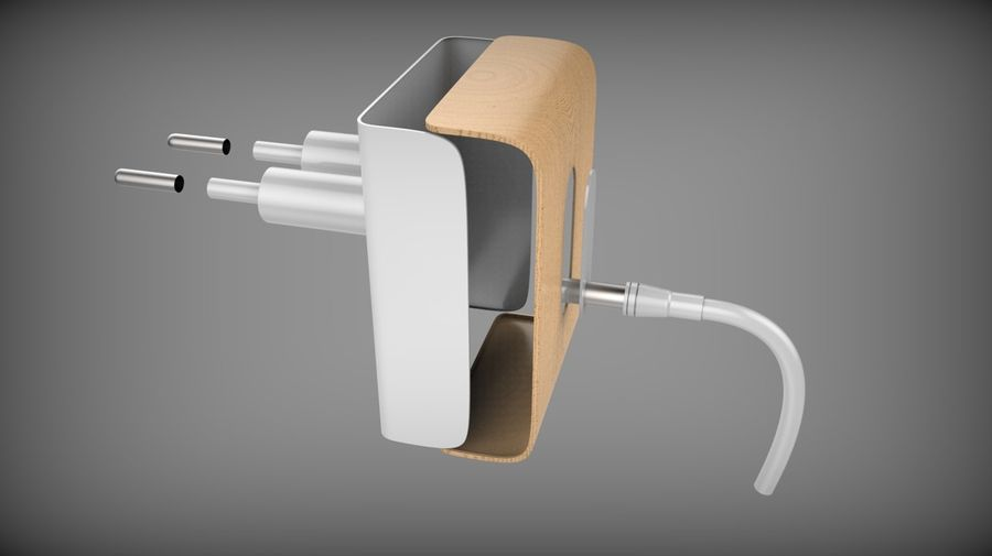 Wood Electronics Charger royalty-free 3d model - Preview no. 8