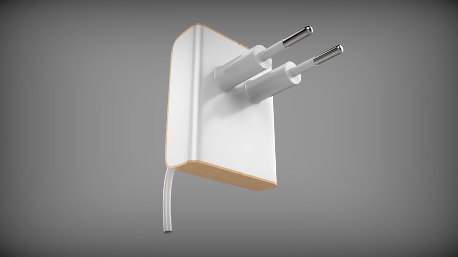 Wood Electronics Charger royalty-free 3d model - Preview no. 3