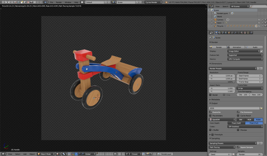 Kinderen driewieler royalty-free 3d model - Preview no. 24