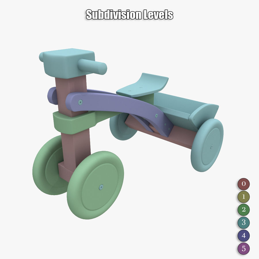 Kinderen driewieler royalty-free 3d model - Preview no. 18