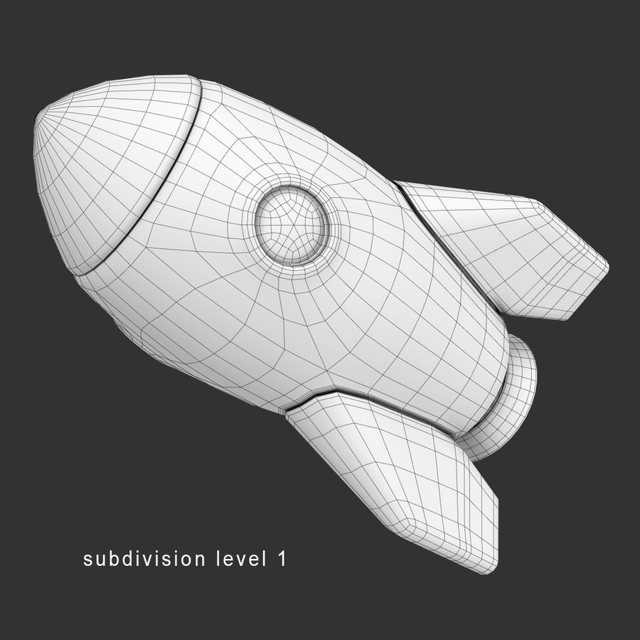 Cartoon Space Rocket royalty-free 3d model - Preview no. 15