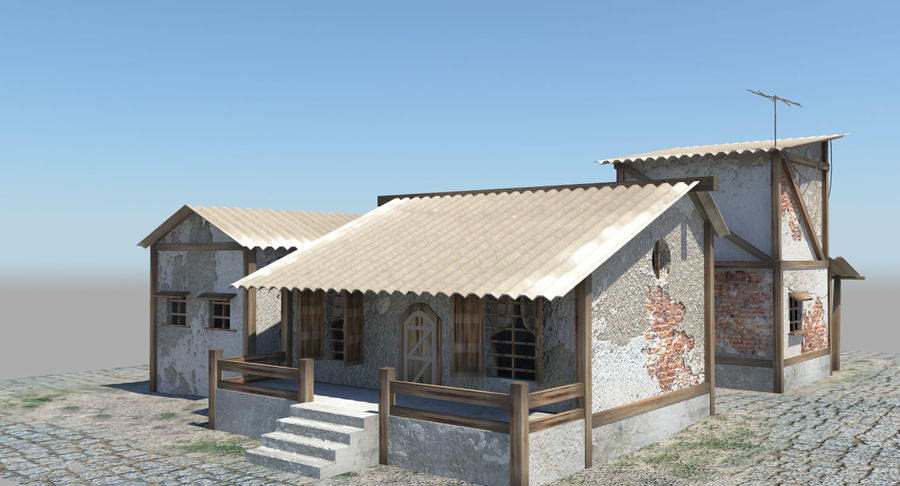Old Houses royalty-free 3d model - Preview no. 4