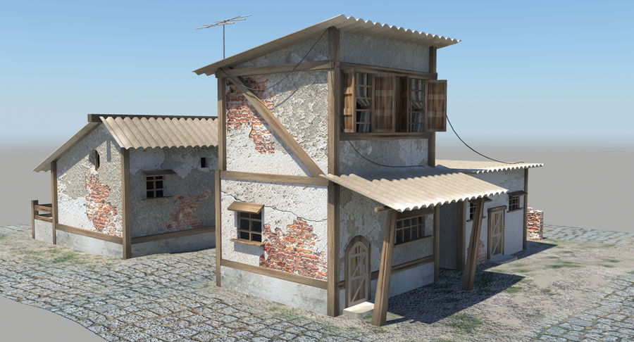 Old Houses royalty-free 3d model - Preview no. 11