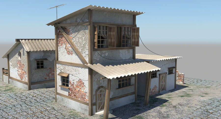 Old Houses royalty-free 3d model - Preview no. 2