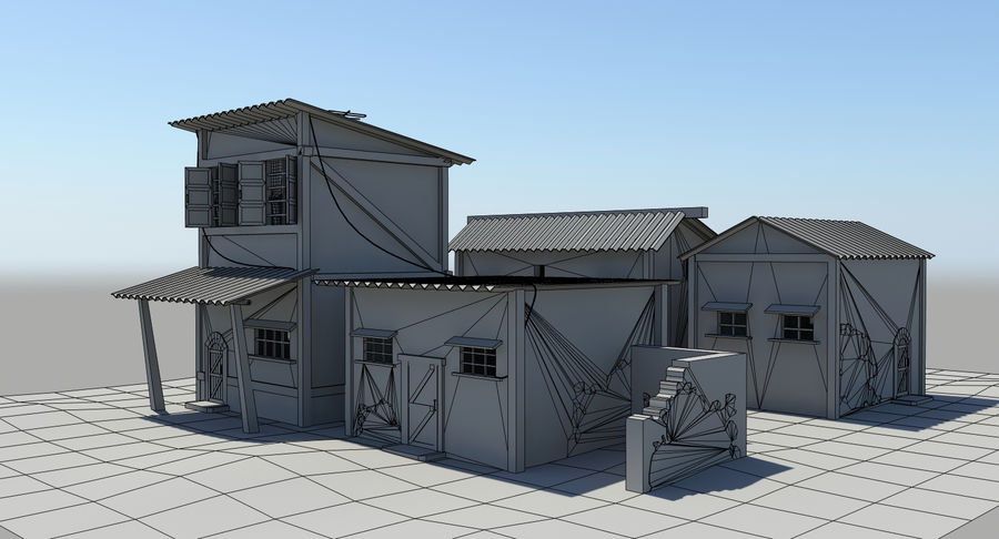 Old Houses royalty-free 3d model - Preview no. 14