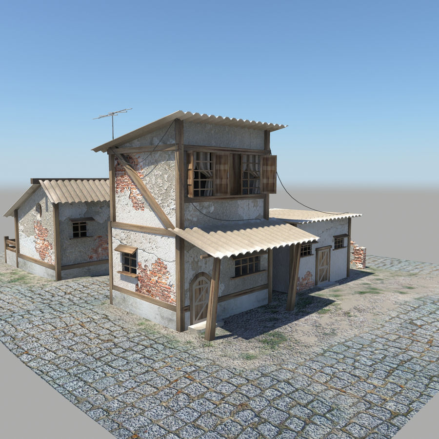 Old Houses royalty-free 3d model - Preview no. 1