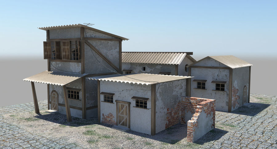 Old Houses royalty-free 3d model - Preview no. 3