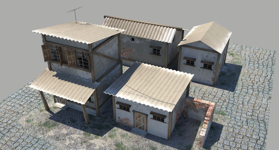 Old Houses royalty-free 3d model - Preview no. 5