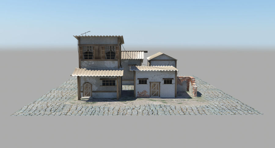Old Houses royalty-free 3d model - Preview no. 7