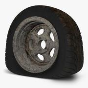 Flat Tire + Rusty Wheel 3d model