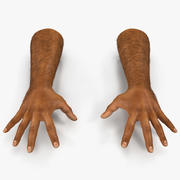 African Man Hands 2 with Fur Pose 4 Model 3D 3d model
