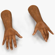 African Man Hands 2 with Fur Pose 3 Model 3D 3d model