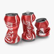 Set de canettes de soda concassées Coca-Cola 3d model
