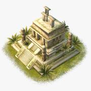 Templo azteca de dibujos animados modelo 3d