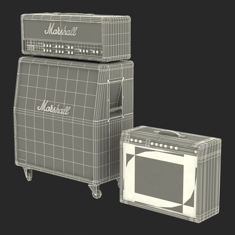 Guitar Amplifiers Collection royalty-free 3d model - Preview no. 38