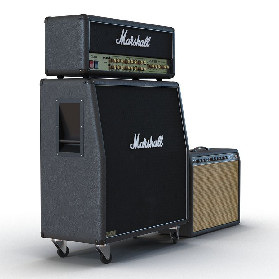 Guitar Amplifiers Collection royalty-free 3d model - Preview no. 3