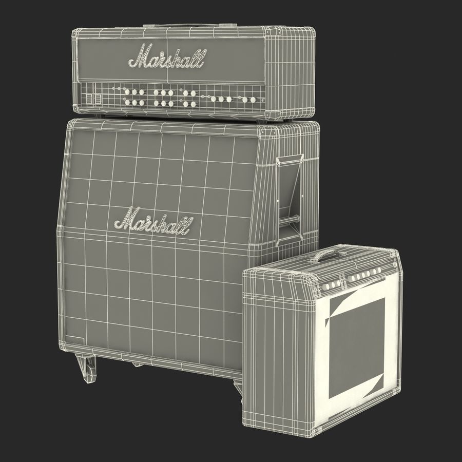 Guitar Amplifiers Collection royalty-free 3d model - Preview no. 40