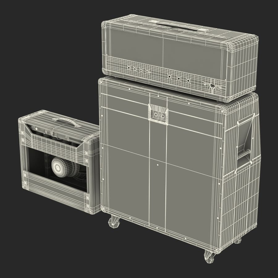 Guitar Amplifiers Collection royalty-free 3d model - Preview no. 39