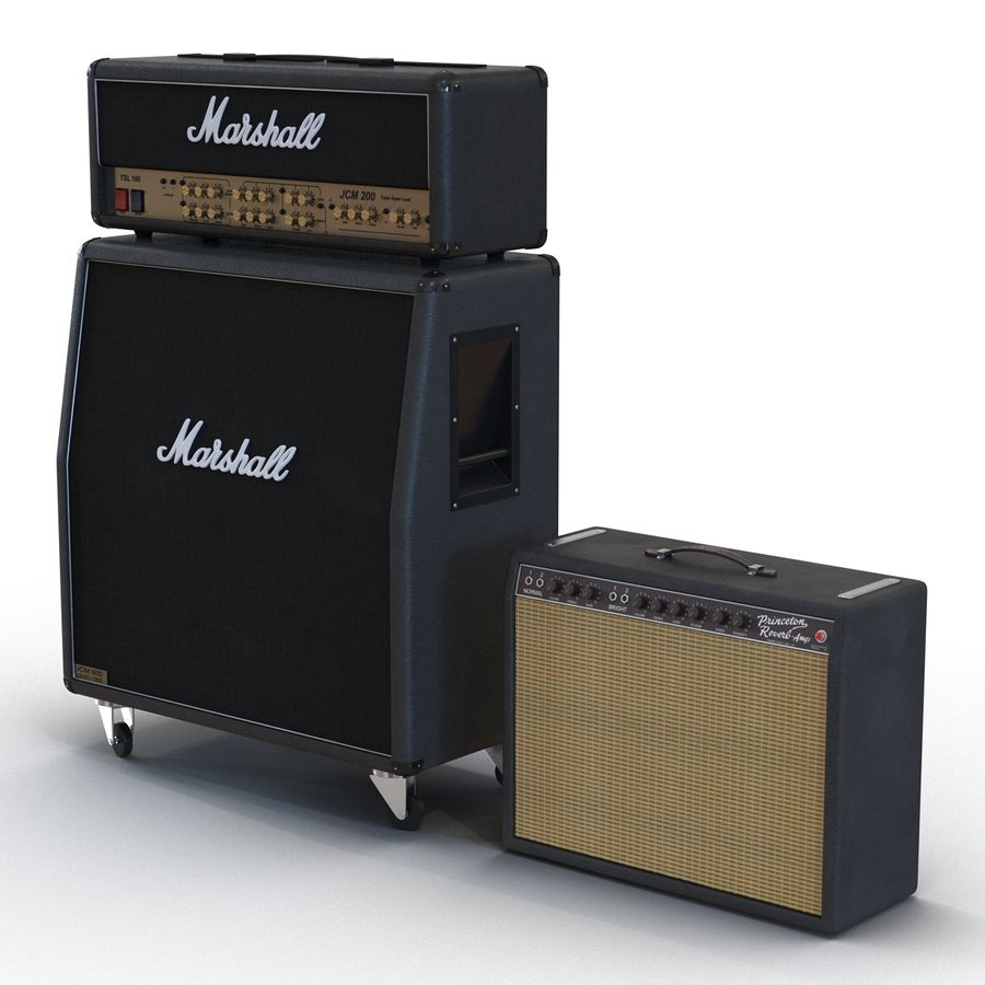 Guitar Amplifiers Collection royalty-free 3d model - Preview no. 2