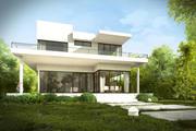 정원과 인테리어와 현대 집 외관 3d model