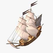 卡通帆船 3d model