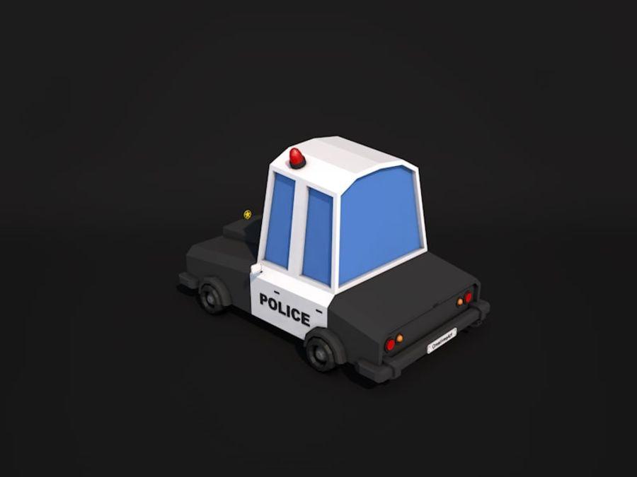 Samochód policyjny Low Poly 2 royalty-free 3d model - Preview no. 3