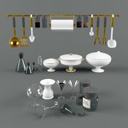 Servis, disk, flaska, turen, vinglas, burk, soppa slev, kökssked. 3d model